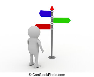 3d person and directional sign