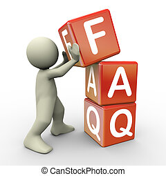 3d render of man placing faq (frequently asked question) cubes. 3d illustration of human character