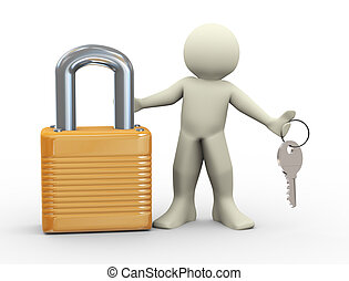 3d person and padlock - 3d illustration of man with padlock...