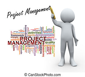 3d Illustration of man in front of wordcloud word tags and writing project management. 3d rendering of human character.