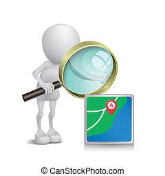 3d, person, aufpassen, a, navigationsoffizier, mit, a, vergrößerungsglas