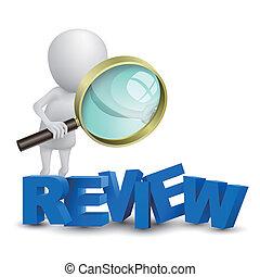 "3d, person, aufpassen, a, wort, ""review"", mit, a, vergrößerungsglas"