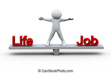 3d person balancing life and job - 3d Illustration of man - ...