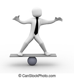 3d person balancing on scale illustration