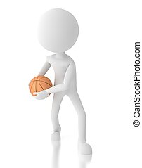 3d person basketball player with a ball