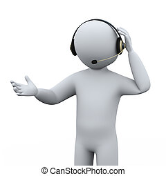 3d person call center support - 3d illustration of man with...