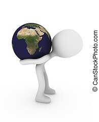 3d person carry world globe