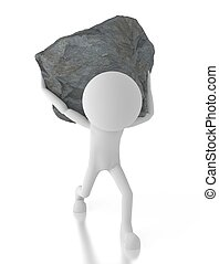3d person carrying a big rock on his back.