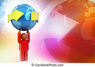3d person carrying the earth