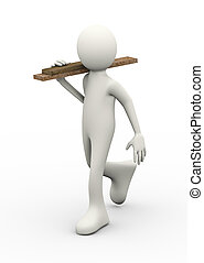 3d person carrying wood