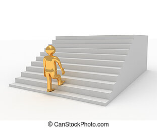 3d person climbing stairs. success concept