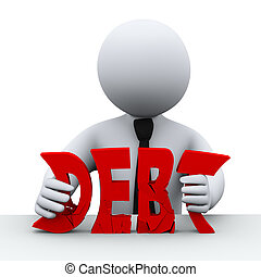 3d illustration of business man squeezing word debt. 3d rendering of human people character