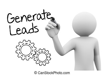 3d person drawing gears and concept of generate leads