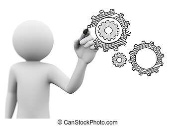 3d person drawing gears cog wheel sketch on transparent screen
