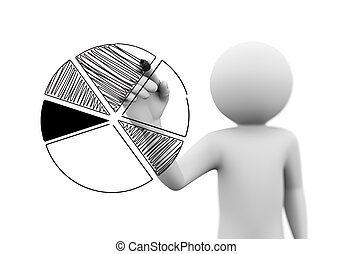 3d person drawng business pie chart