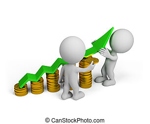 3d person - financial success - Two 3d person - more profit....