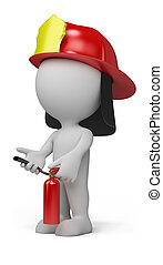 3d person - fireman with the fire extinguisher and in a...