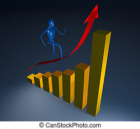 3d person going on a rising red arrow