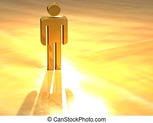 3D Person Gold Sign