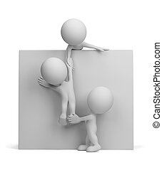 3d person - help to the friend. 3d image. Isolated white...