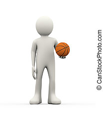 3d person holding an orange basketball ball