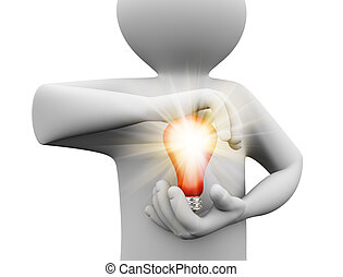 3d person holding bulb