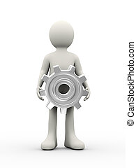3d person holding gear cogwheel