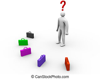 3d person in front of multicolor cases