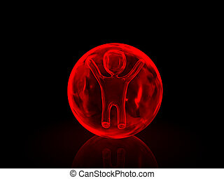 3d person inside in ice globe