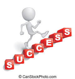 3d person is climbing stairs made of cubes lettering success word isolated white background