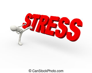 3d person kicking word stress - 3d illustration of man ...