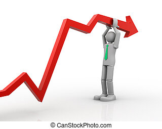 3d person leaning on a rising graph arrow