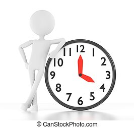 3d person leans on clock that says 04:00