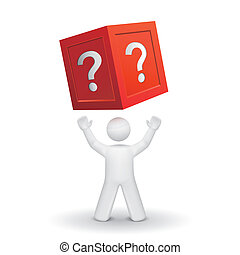 3d person looking up at a box with question mark isolated...