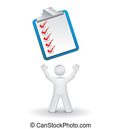 3d person looking up at a clipping note pad and check list isolated white background