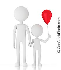 3d person man holding child's hand with a red balloon