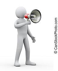 3d person megaphone announcement