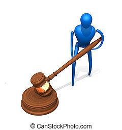 3d, person, mit, gerichtlich, richterhammer