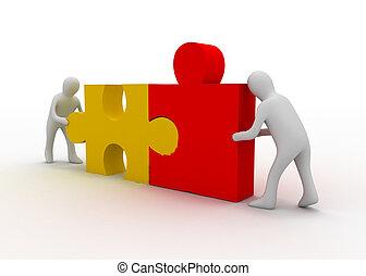 3d, person, mit, puzzel