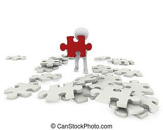 3d, person, mit, puzzel, figur