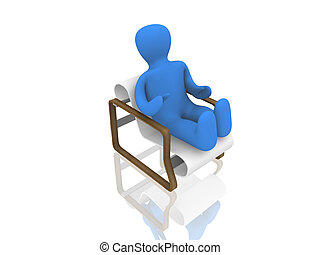 3d person on chair