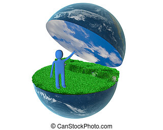 3d person on globe