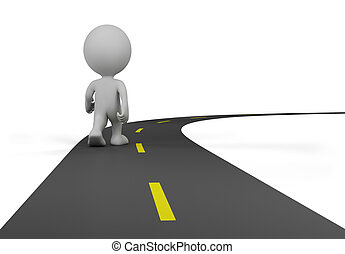 3d person on the road - 3d person walks on the chosen path....