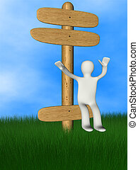 3d person on wooden signboard