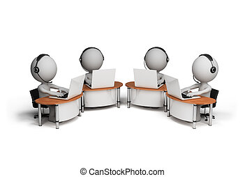 3d person – operators - Employees working in a call center....