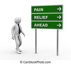 3d illustration of man and green roadsign of pain relief ahead. 3d rendering of human people character.