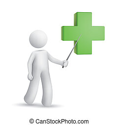 3d person pointing at a green cross