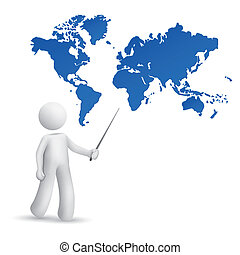 3d person pointing at a map of the world isolated white...