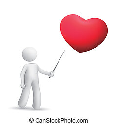 3d person pointing at a red heart symbol