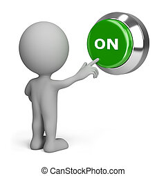 3d small people pressing the green button to include. 3d image. Isolated white background.